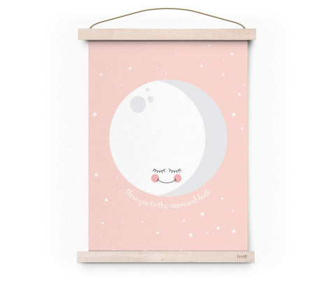 Poster I Love You To The Moon And Back Rosa | EEF LILLEMOR | RocketBaby.it