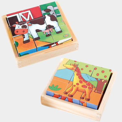 Set da 2 Puzzle con Cubi Fattoria e Zoo | LEGLER | RocketBaby.it