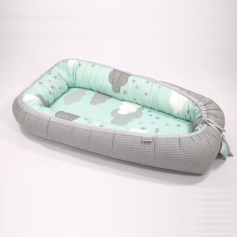 Riduttore per la Nanna in Bamboo e Cotone Minty Puffs e Grey | TINY STAR | RocketBaby.it