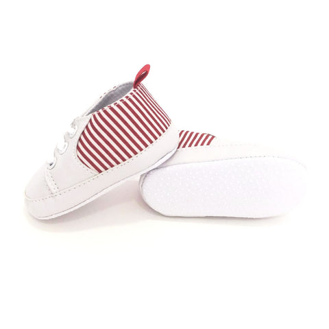 Sneakers Soft Sole con Stringhe Bianche e Rosse | MIAMI KIDS | RocketBaby.it