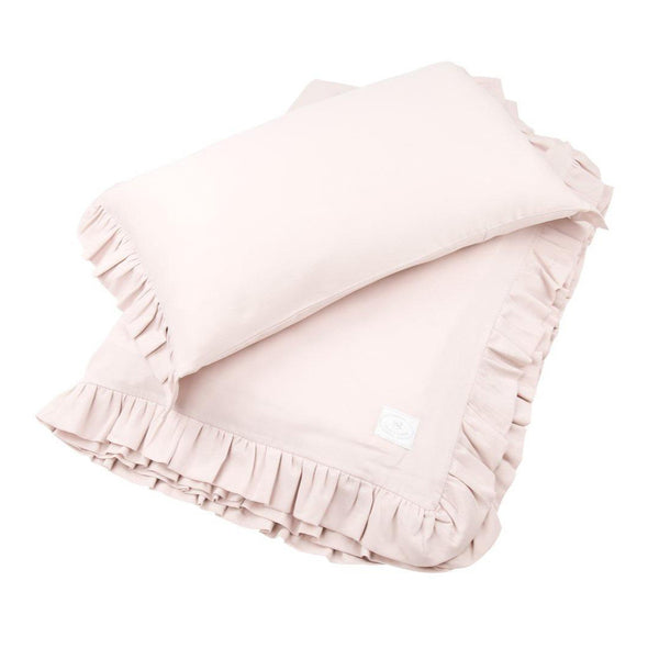 Set Copripiumino Junior con Volant Powder pink