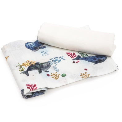 Set da 2 Swaddle in Bambù Square Ocean | POOFI | RocketBaby.it