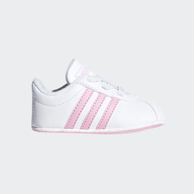 Adidas Soft Sole Vl Court 2.0 Bianche Bande Rosa | ADIDAS | RocketBaby.it