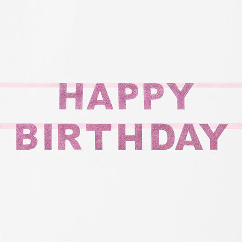 Striscione Glitter Happy Birthday Pink | MY LITTLE DAY | RocketBaby.it