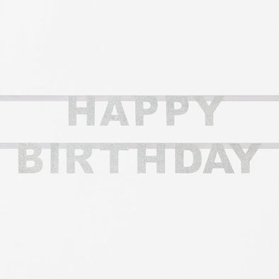 Striscione Glitter Happy Birthday Silver | MY LITTLE DAY | RocketBaby.it