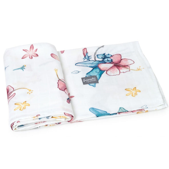 Swaddle in Bamboo Hibiscus