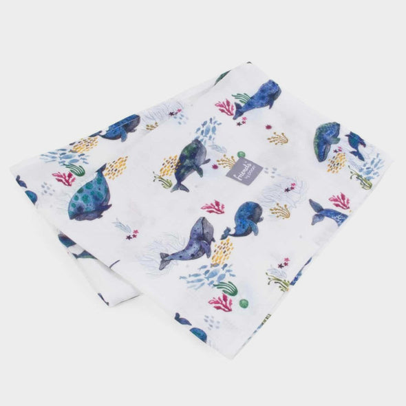 Swaddle in Bamboo Square 73 x 73 cm Whales