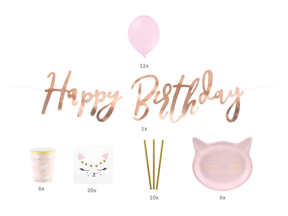 Kit Per Party Happy Birthday Gatto Rosa