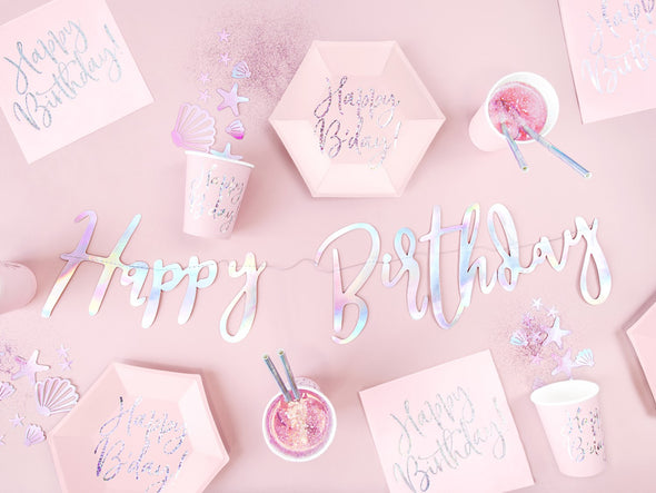 Set 6 Piatti di Carta Happy Birthday Rosa Cipria