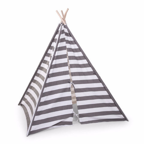 Tenda Tipi a Righe Grigia e Bianca | CHILDHOME | RocketBaby.it