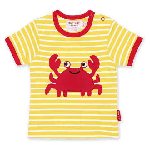 Maglietta a Maniche Corte in Cotone Crab Applique | TOBY TIGER | RocketBaby.it