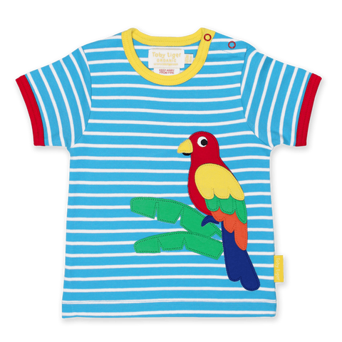 Maglietta a Maniche Corte in Cotone Parrot Applique | TOBY TIGER | RocketBaby.it