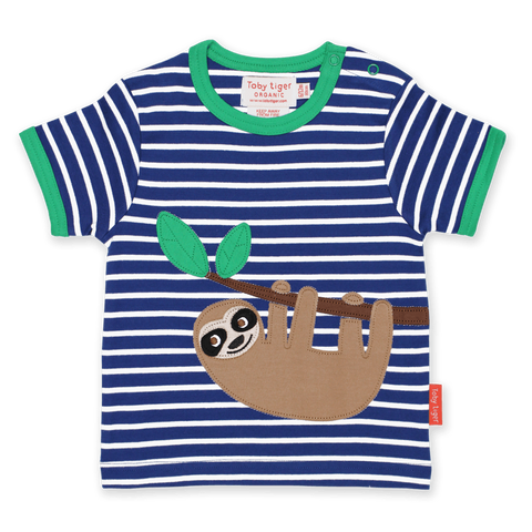Maglietta a Maniche Corte in Cotone Sloth Applique | TOBY TIGER | RocketBaby.it
