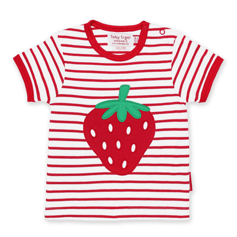 Maglietta a Maniche Corte in Cotone Strawberry Applique | TOBY TIGER | RocketBaby.it