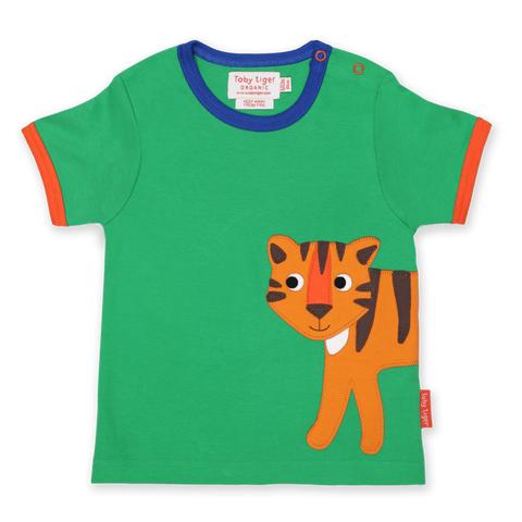 Maglietta a Maniche Corte in Cotone Tiger Applique | TOBY TIGER | RocketBaby.it