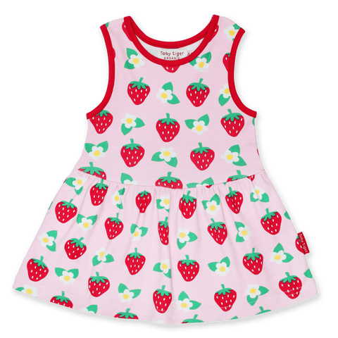 Vestito in Cotone Strawberry Print | TOBY TIGER | RocketBaby.it