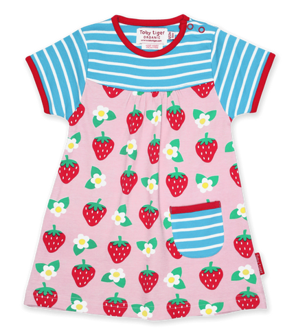 Vestito in Cotone Blue e Pink Strawberry Print | TOBY TIGER | RocketBaby.it