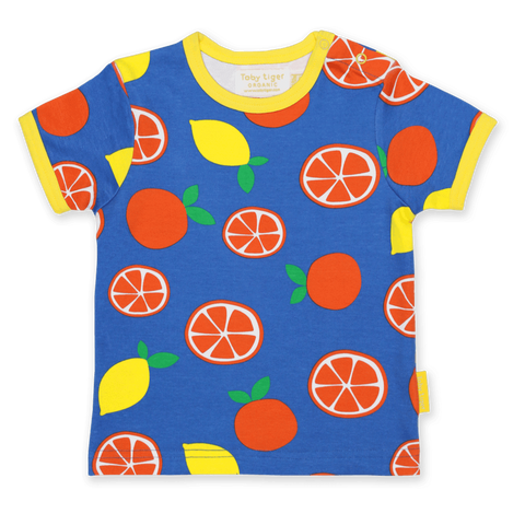 Maglietta a Maniche Corte in Cotone Oranges e Lemons Print | TOBY TIGER | RocketBaby.it