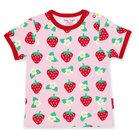 Maglietta a Maniche Corte in Cotone Strawberry Flower Print | TOBY TIGER | RocketBaby.it