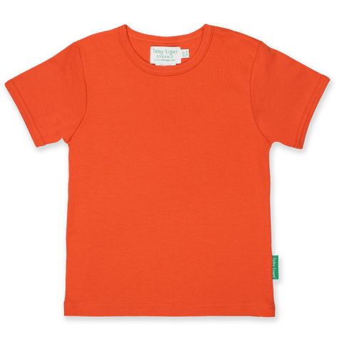 Maglietta a Maniche Corte in Cotone Orange Basic | TOBY TIGER | RocketBaby.it