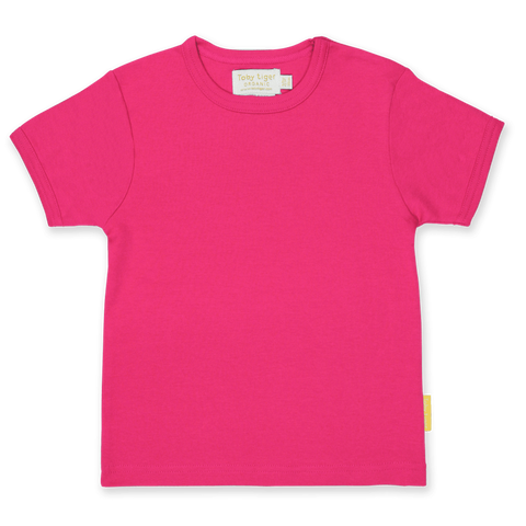 Maglietta a Maniche Corte in Cotone Pink Basic | TOBY TIGER | RocketBaby.it
