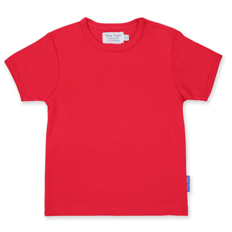 Maglietta a Maniche Corte in Cotone Red Basic | TOBY TIGER | RocketBaby.it