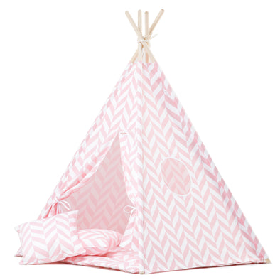 Set Tenda Teepee Pink Herringbone