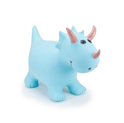 Gonfiabile Cavalcabile Small Turquoise Triceratops | HAPPY HOPPERZ | RocketBaby.it
