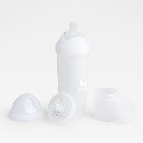 Biberon Anticoliche con Contenitore per il Latte in Polvere 340 ml White | HEROBILITY | RocketBaby.it