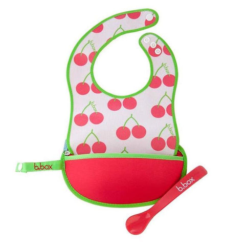 Set Bavaglino MangiaPappa con Cucchiaio Cherry Delight | B BOX | RocketBaby.it