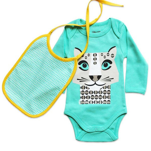 Kit body e bavaglino Leopardo Bianco - RocketBaby - 1