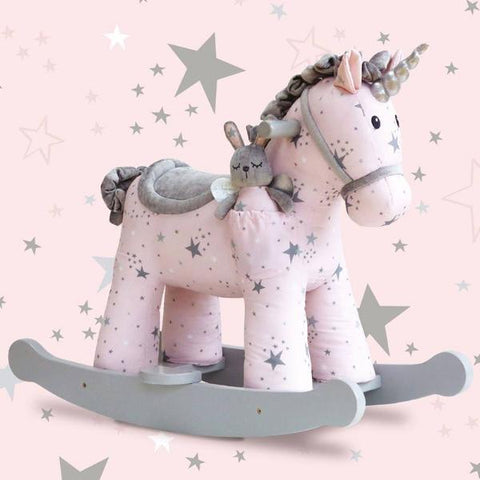 Unicorno a Dondolo con Pupazzo nel Taschino Celeste and Fae | LITTLE BIRD TOLD ME | RocketBaby.it