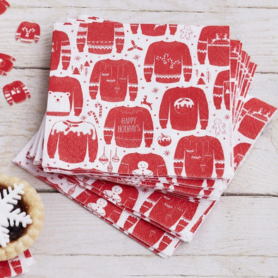 20 Tovaglioli di Carta Red e White Festive Jumper | GINGER RAY | RocketBaby.it