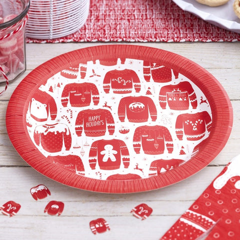 8 Piatti di Carta Red e White Festive Jumper | GINGER RAY | RocketBaby.it