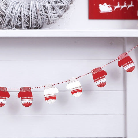 Ghirlanda Decorativa Red e White Festive Mitten | GINGER RAY | RocketBaby.it