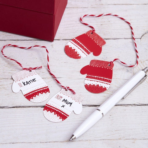 Bigliettini Regalo Red e White Festive Mitten | GINGER RAY | RocketBaby.it