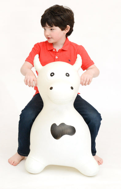 Gonfiabile Cavalcabile XL Toro Bianco | HAPPY HOPPERZ | RocketBaby.it