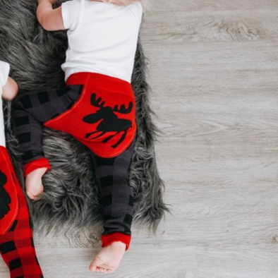 Leggings Baby Grey Plaid Moose | LAZY ONE | RocketBaby.it