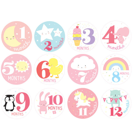 12 Stickers 1' anno Little Girl - RocketBaby - 1
