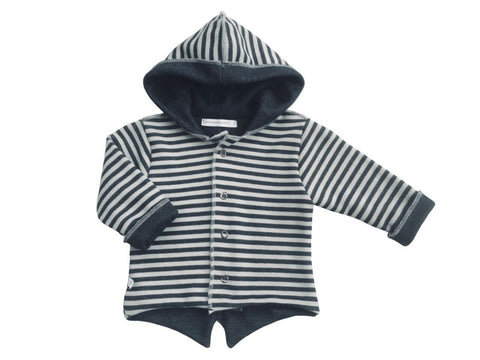 Cardigan Parker con Cappuccio Striped Antracite Fango | BAMBOOM | RocketBaby.it