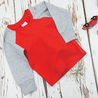 Maglietta A Maniche Lunghe Red E Grey Plain | BLADE&ROSE | RocketBaby.it