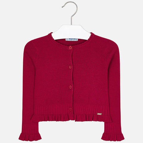 Cardigan con Volant Tricot Rosso | MAYORAL | RocketBaby.it