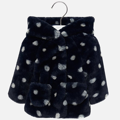 Cappotto In Pellicciotto Pois Marino | MAYORAL | RocketBaby.it
