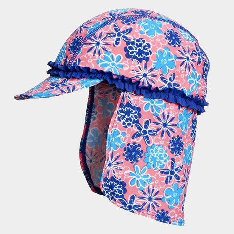 Cappello da Sole con Protezioni Laterali Flowers Blue | PLAYSHOES | RocketBaby.it