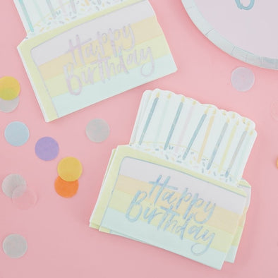 16 Tovaglioli di Carta Birthday Cake Pastel | GINGER RAY | RocketBaby.it