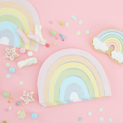 16 Tovaglioli di Carta Iridescent Rainbow Pastel | GINGER RAY | RocketBaby.it