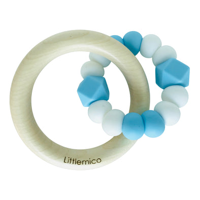 Anello da Mordere in Silicone Light blue e White | LITTLEMICO | RocketBaby.it