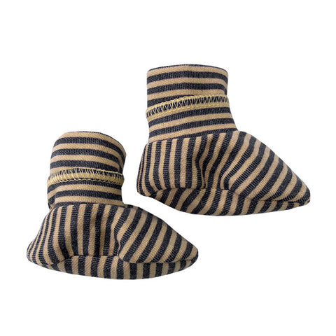 Babbucce Soft Sole Striped Ocra Grey | BAMBOOM | RocketBaby.it
