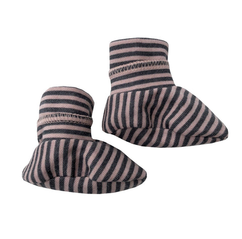 Babbucce Soft Sole Striped Pink Grey | BAMBOOM | RocketBaby.it