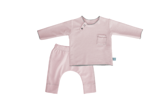 Twin Set Rosa in fibra di bamboo - RocketBaby - 1